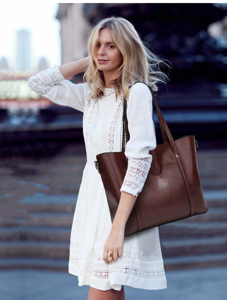 Women Genuine Leather Top Handle Satchel Tote Shoulder Bag Large Capacity