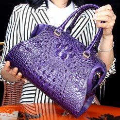 Natural Alligator Skin Women's Handbag Croc Shoulder Bag Purple