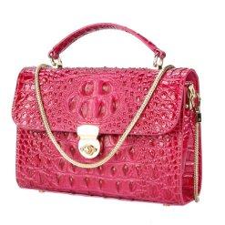 Real Crocodile Leather Ladies Chain Handbag Alligator Satchel Bag Rose Red