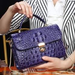 Real Crocodile Leather Ladies Chain Handbag Alligator Satchel Bag Purple