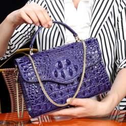 Croc-Embossed Chain Shoulder Bag Alligator Handbag Bag Purple