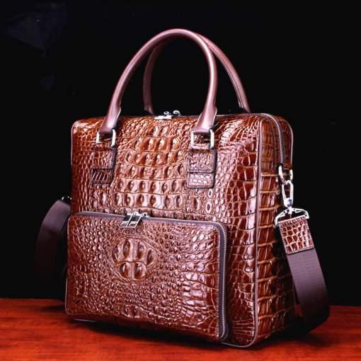 Real Crocodile Skin Leather Men's Business Briefcase Alligator Handbag Brown