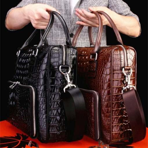 Real Crocodile Skin Leather Men's Business Briefcase Alligator Handbag