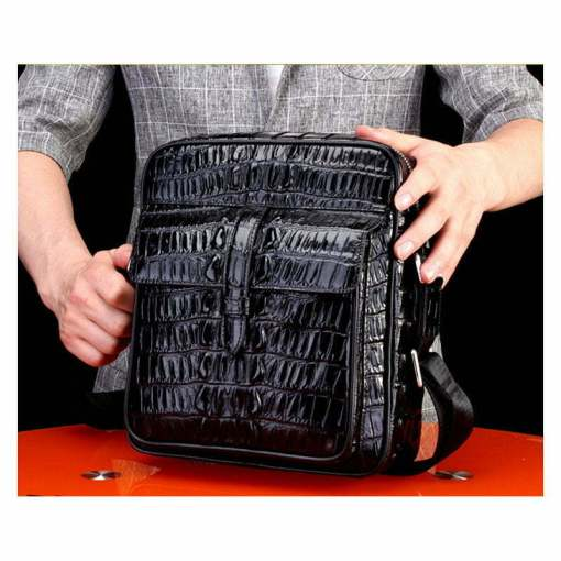 Real Thai Crocodile Skin Leather Mens Handbag Cross-Body Shoulder Bag Black
