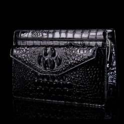 Genuine Crocodile Skin Men's Clutch Bag Alligator Pouch Black