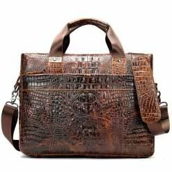 Crocodile Texture Men's Business Briefcase Alligator Soft Handle Bag