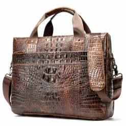 Crocodile Texture Men's Business Briefcase Alligator Soft Handle Bag Brown