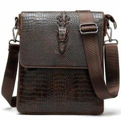 Crocodile Pattern Oil Wax Leather Mens Shoulder Bag Messenger Bag Brown
