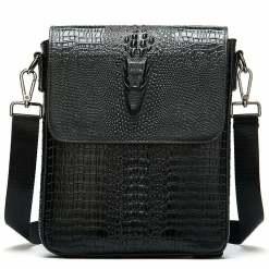 Crocodile Pattern Oil Wax Leather Mens Shoulder Bag Messenger Bag Black