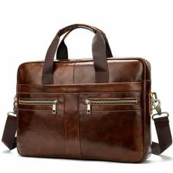 Genuine Leather Men's Briefcase Business Messnger Bag