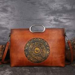 Genuine Leather Embossed Totem Handbag Classic Shoulder Bag Brown