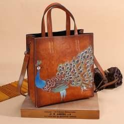 Tote Handbags Women Genuine Leather Embossing Peacock Pattern Crossbody Shoulder Bags