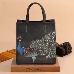 Tote Handbags Women Genuine Leather Embossing Peacock Pattern Crossbody Shoulder Bags Grey