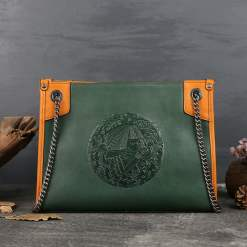 Embossing Totem Chain Bag Women's Genuine Leather Shoulder Bags Green
