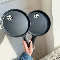 3D Cartoon Frying Pan Shape iPhone 12 Pro Max Case 11 XS Max Pancake Pot Soft Cover