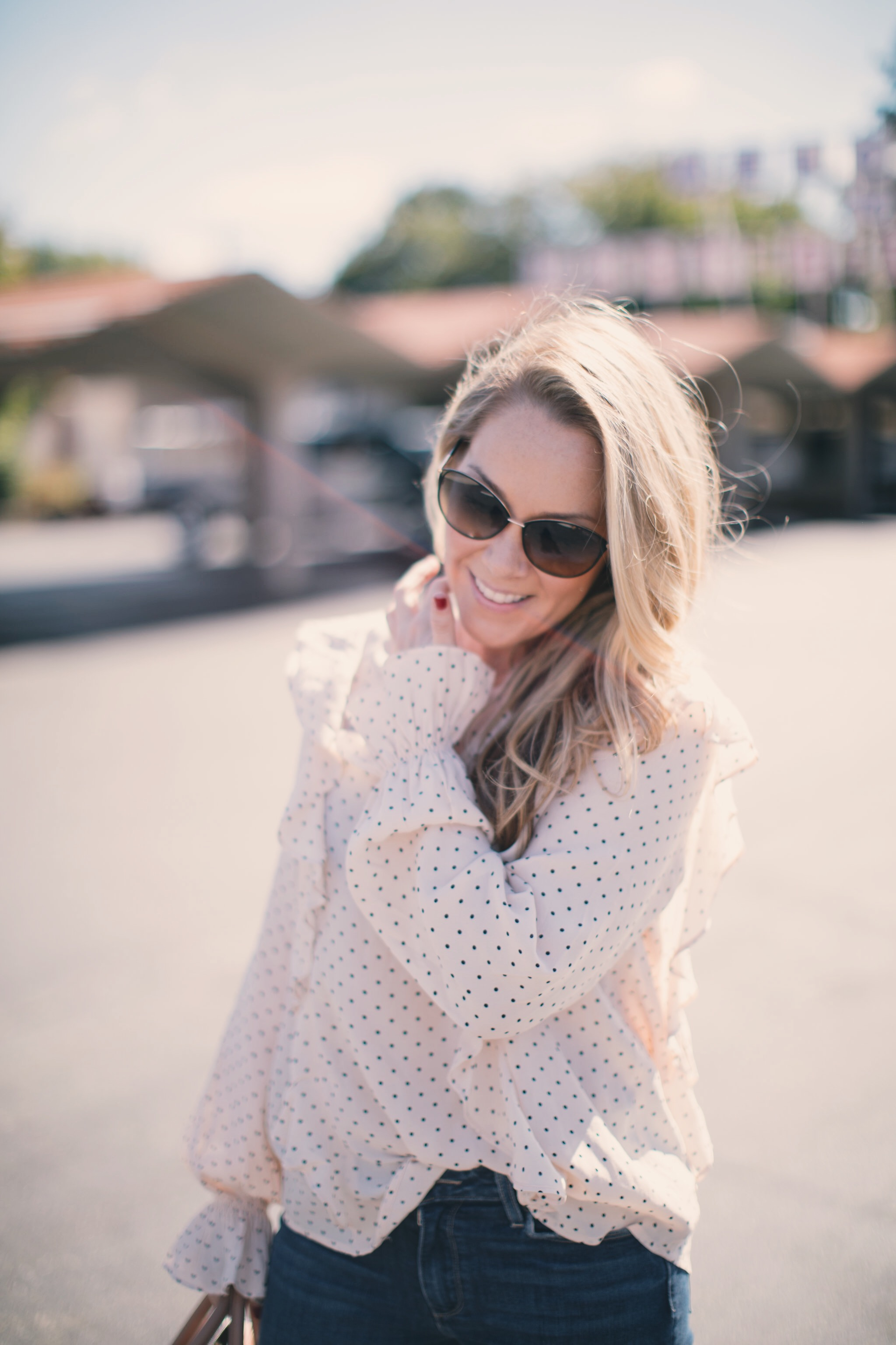 Pretty Little Polka Dot Blouse by North Carolina fashion blogger Every Chic Way
