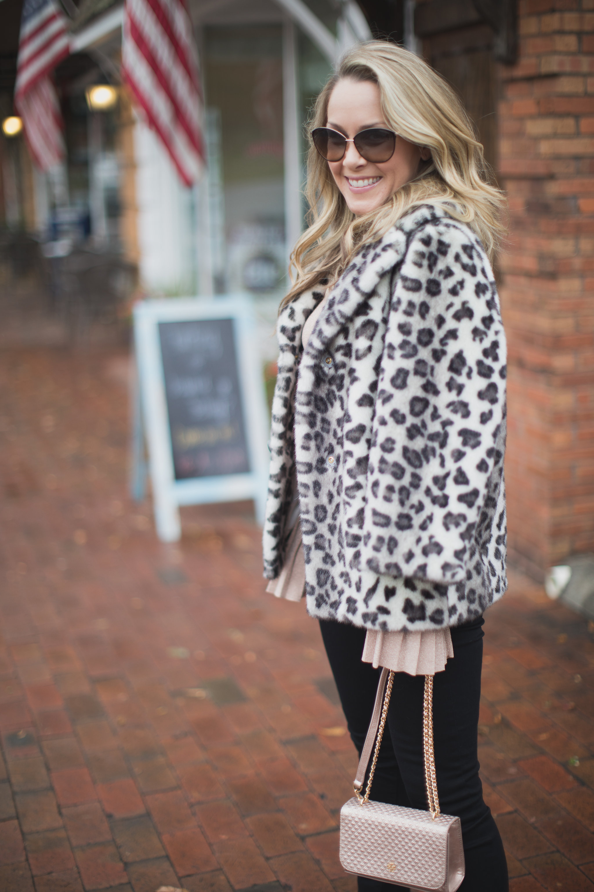 Leopard and metallic. The perfect combo for the holiday season! - Shopping with IFCHIC by North Carolina fashion blogger Every Chic Way