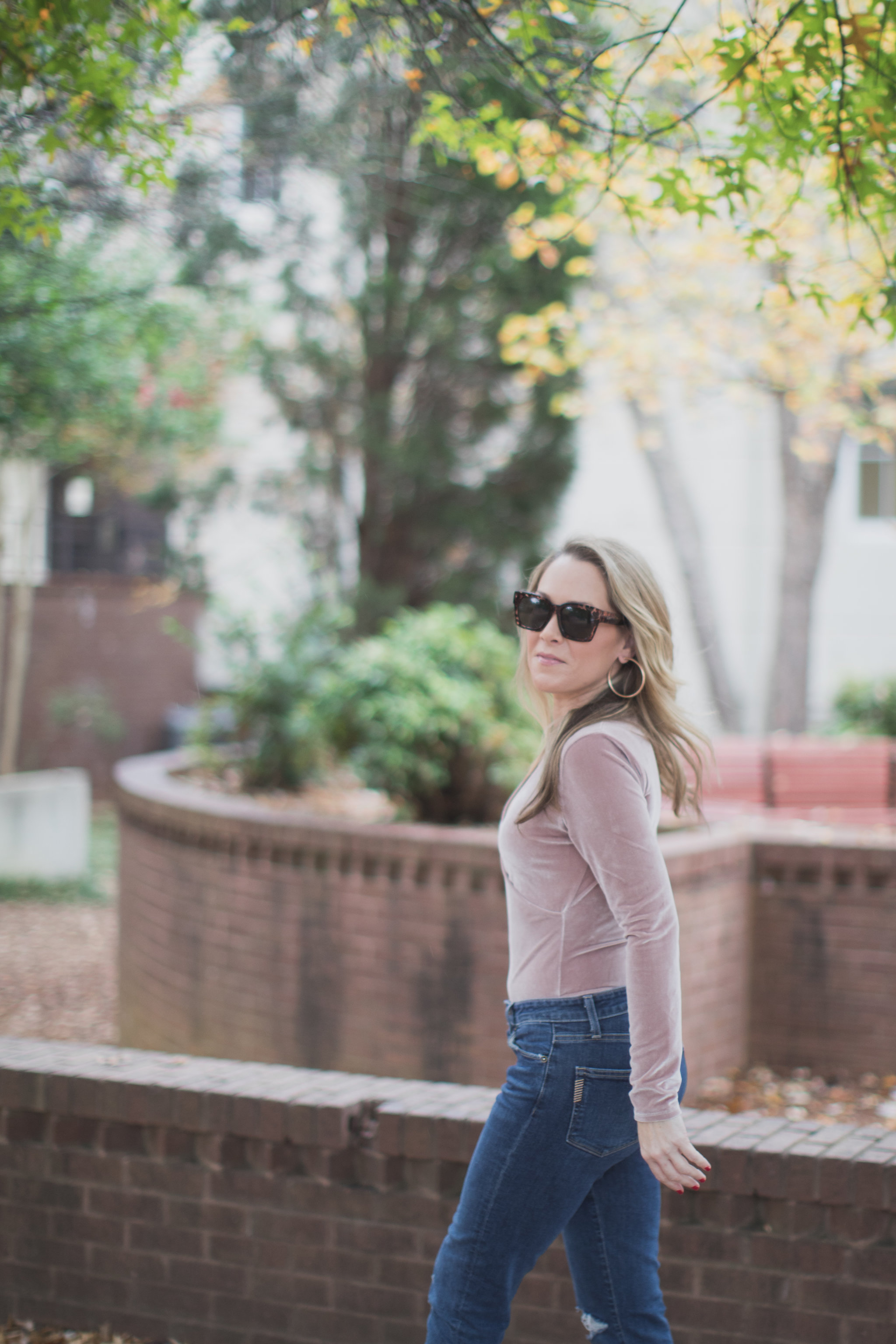 The perfect pink Madewell bodysuit!! - Madewell Velvet Bodysuit by North Carolina style blogger Every Chic Way