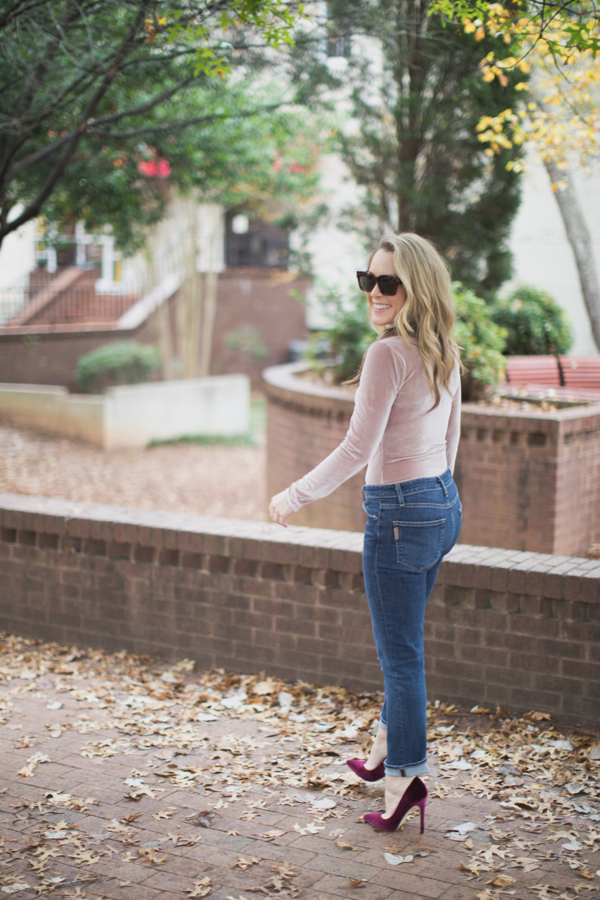 The perfect bodysuit for Fall! - Madewell Velvet Bodysuit by North Carolina style blogger Every Chic Way