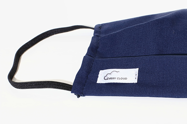 A blue Every Cloud Antimicrobial Reusable face mask
