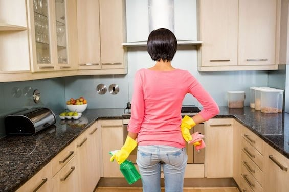 Woman Cleaning Supplies Clean K Grime Kitchen Cabinets