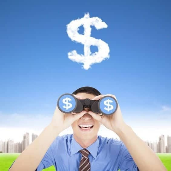 15192780 - happy businessman holding binoculars and watching the money cloud