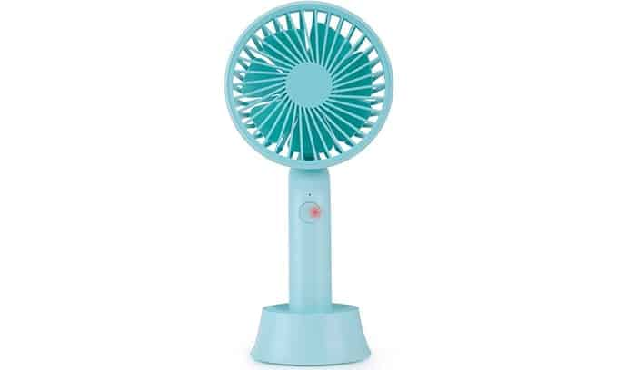 Handheld cordless rechargeable mini fan with removable stand