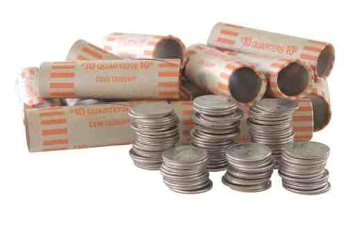 stacks-of-US-quarters-to-be-rolled-in-paper-wrappers