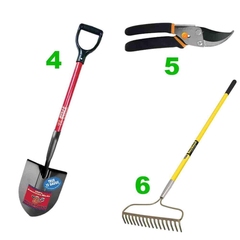 Shovel, pruner and rigid rake for the DIY gardener