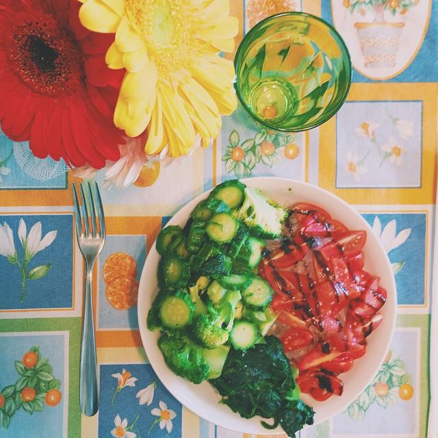 Late lunch  #konjac #tomato #zucchini