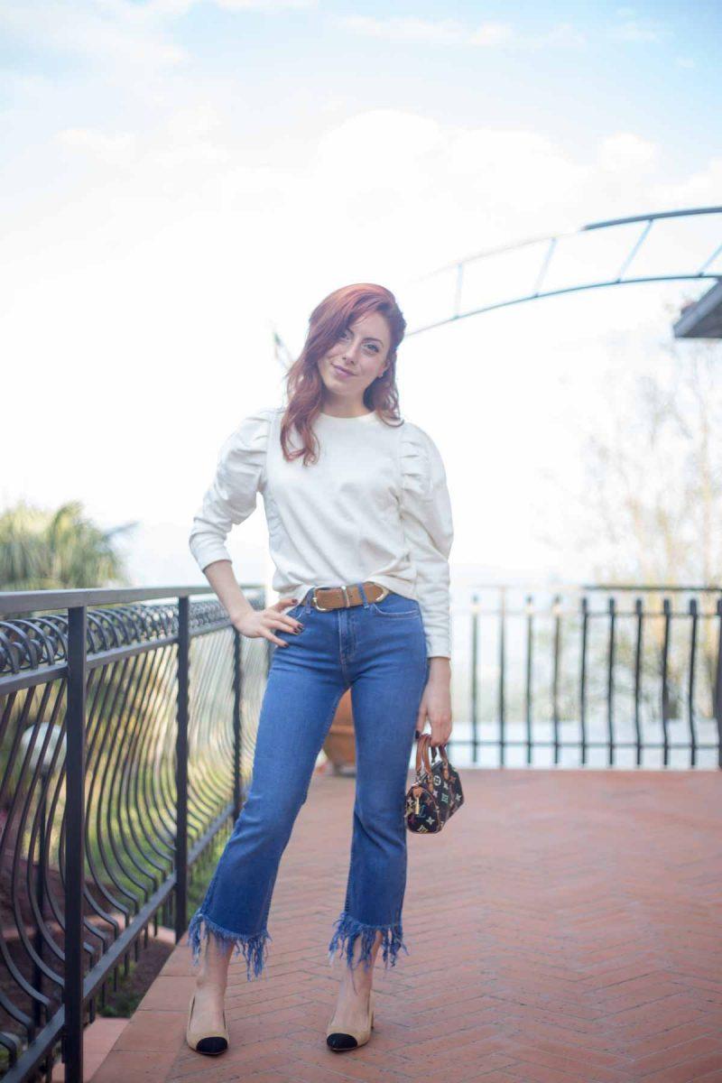 jeans a zampa sfrangiati