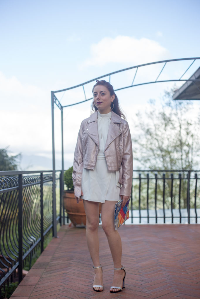 giacca in pelle metallizzata