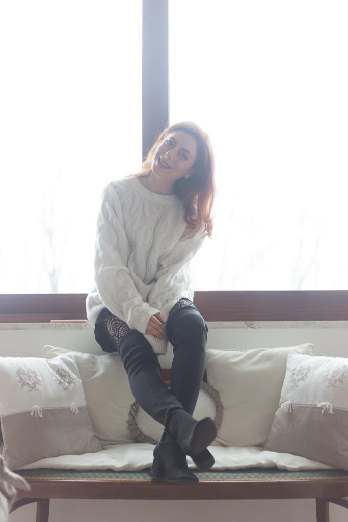 Maglione bianco oversize