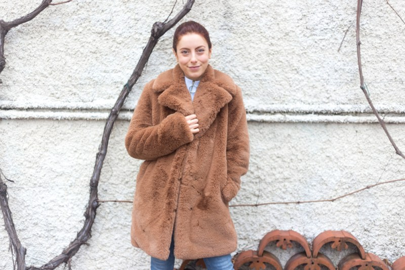 teddy bear coat outfit con cappotto peluche