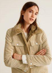 mango giacca velluto a coste pelliccia