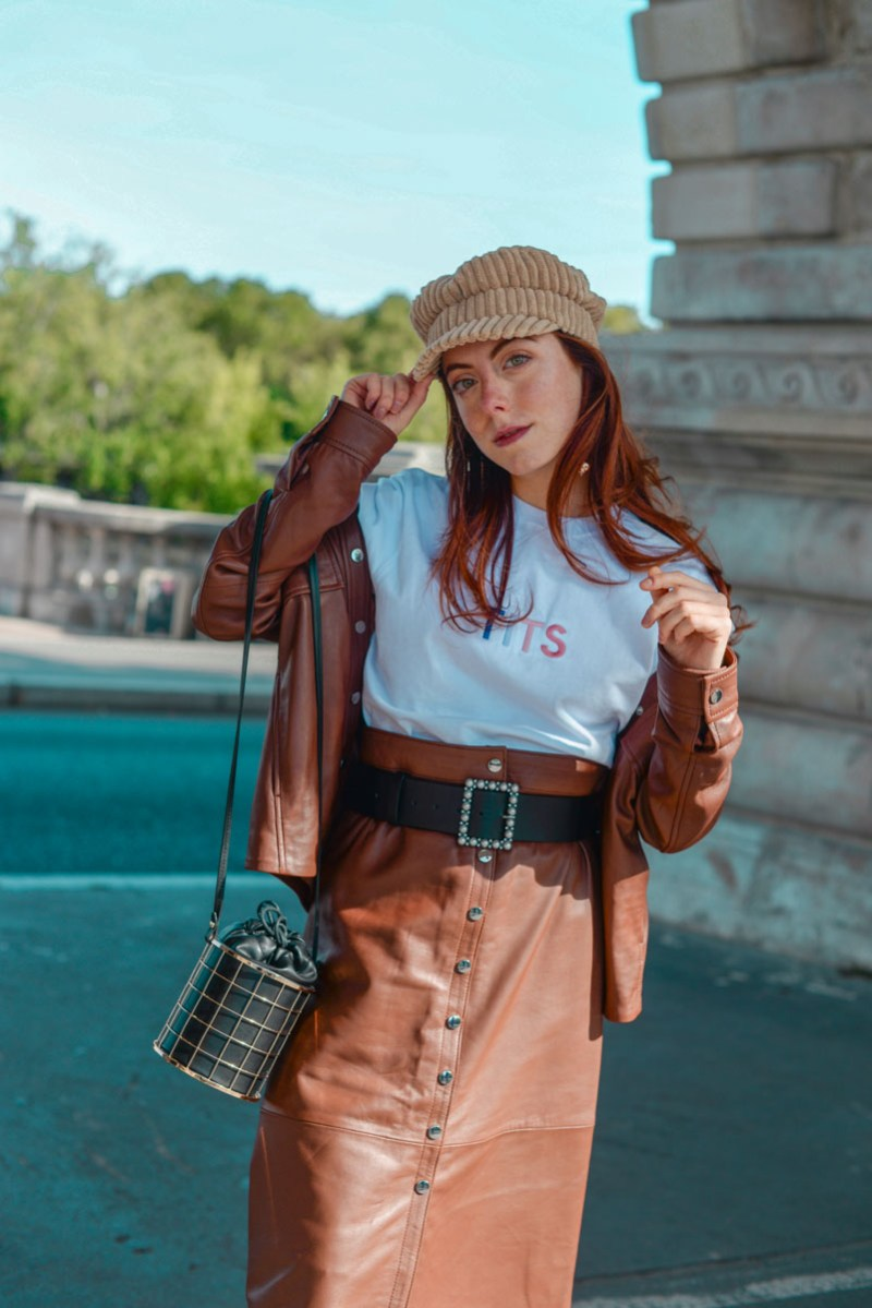 completo in pelle color cognac outfit