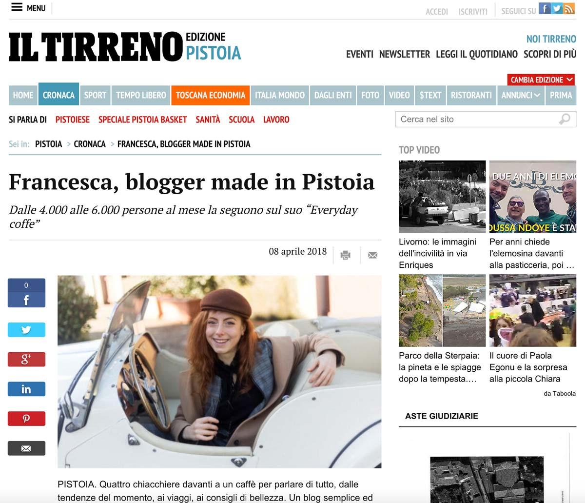 Francesca Giagnorio su Il Tirreno articolo