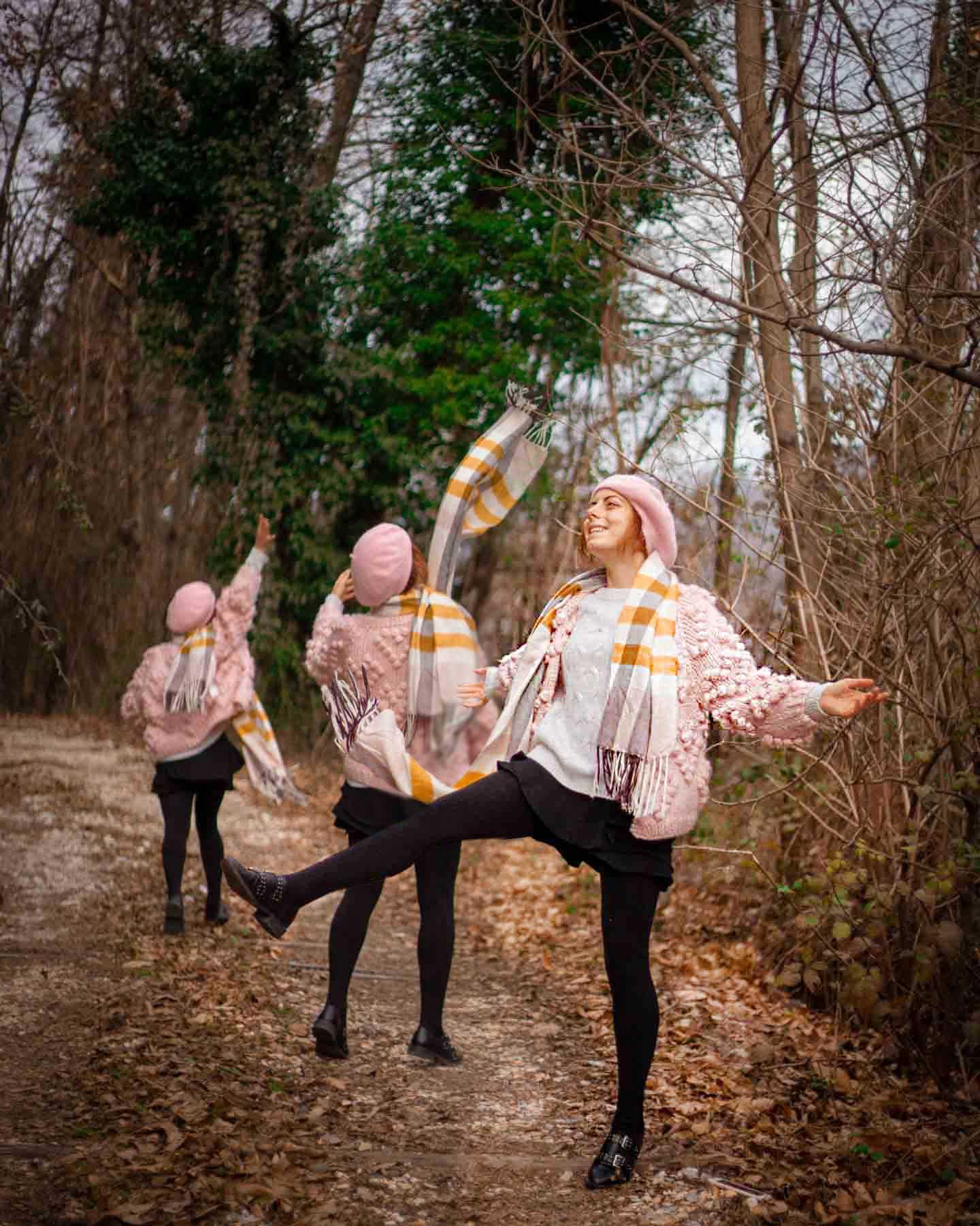 outfit di fine inverno rosa bianco e giallo