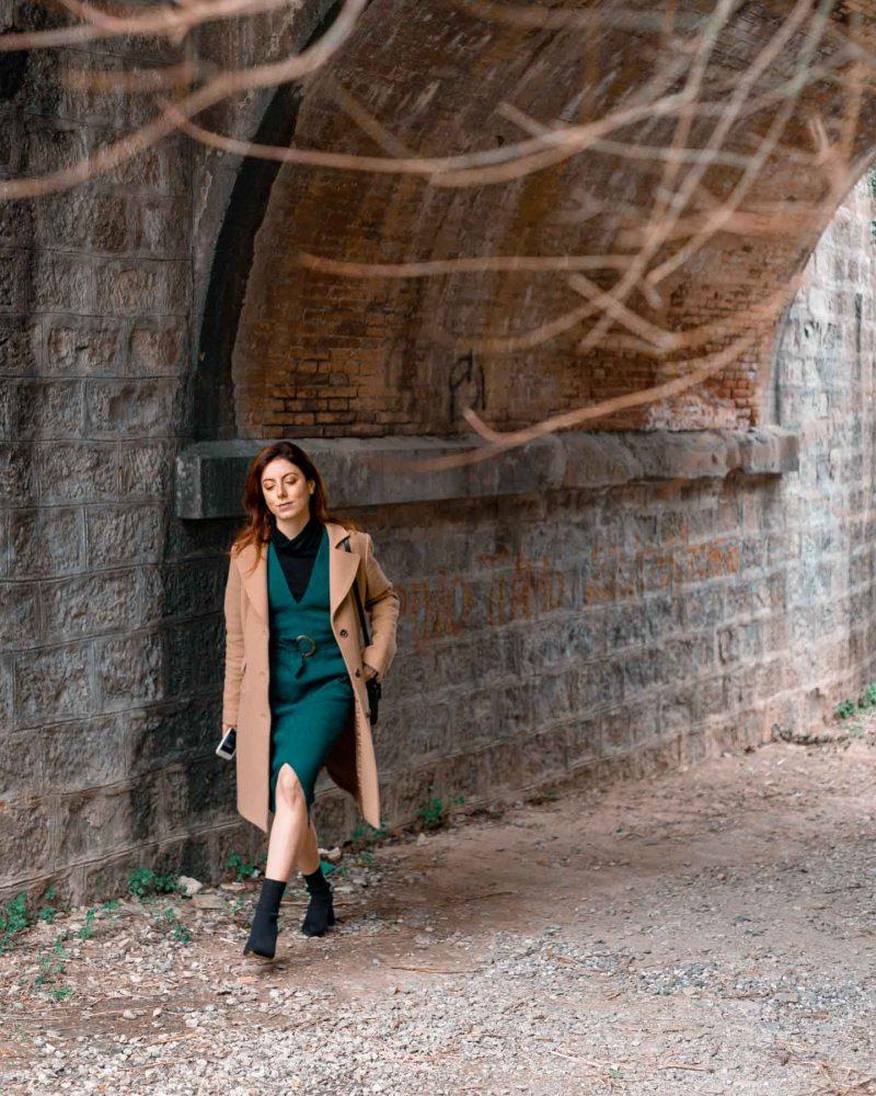 outfit di fine inverno vestito verde longuette
