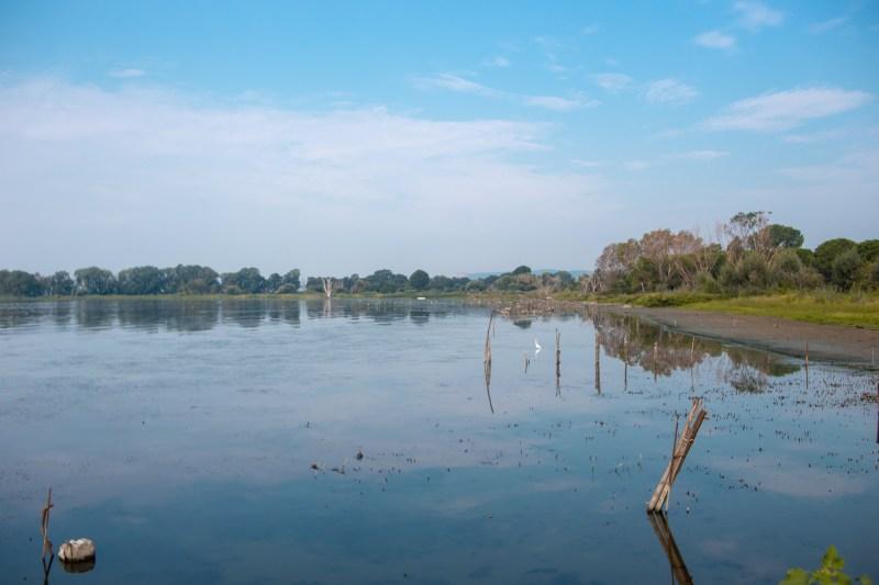 vista sul lago trasimeno in una giornata serena