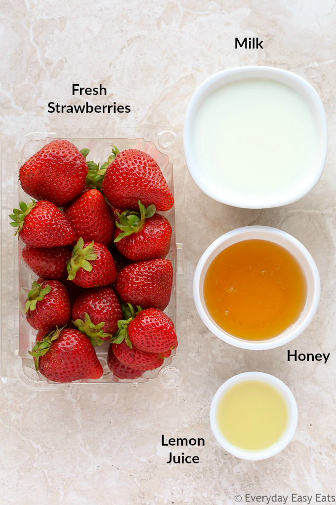 Ingredients used to make Healthy Strawberry Popsicles.