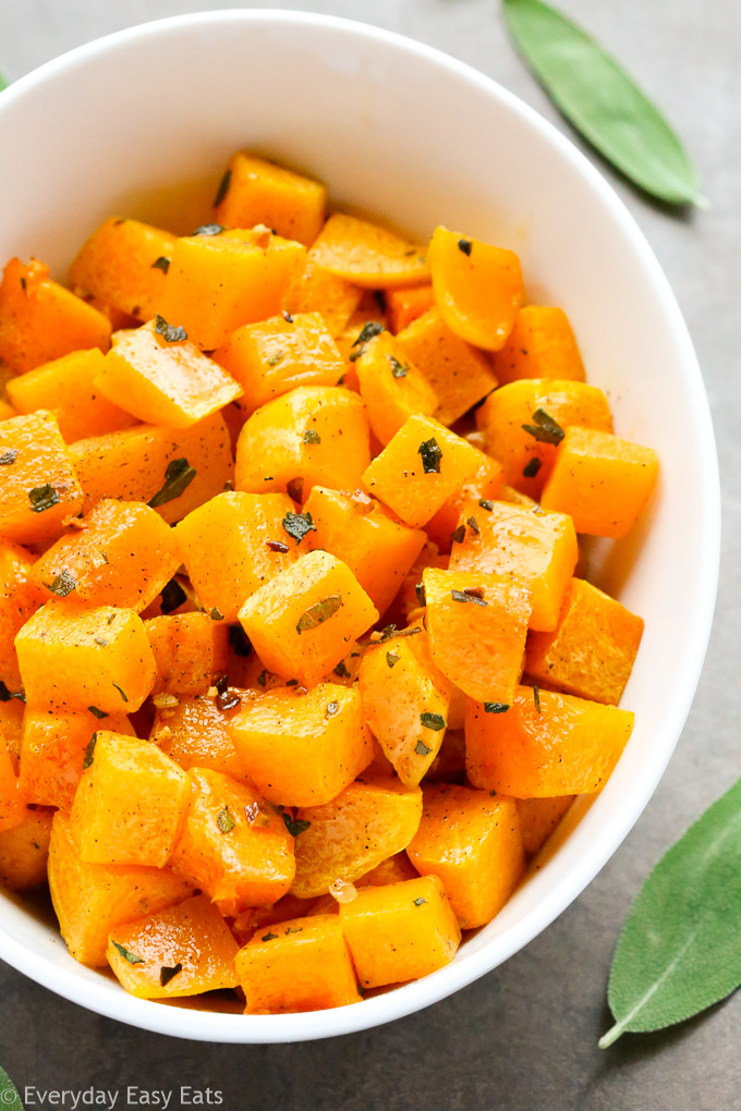 Vegan, Gluten-Free and Paleo Roasted Butternut Squash with Sage   Recipe at EverydayEasyEats.com
