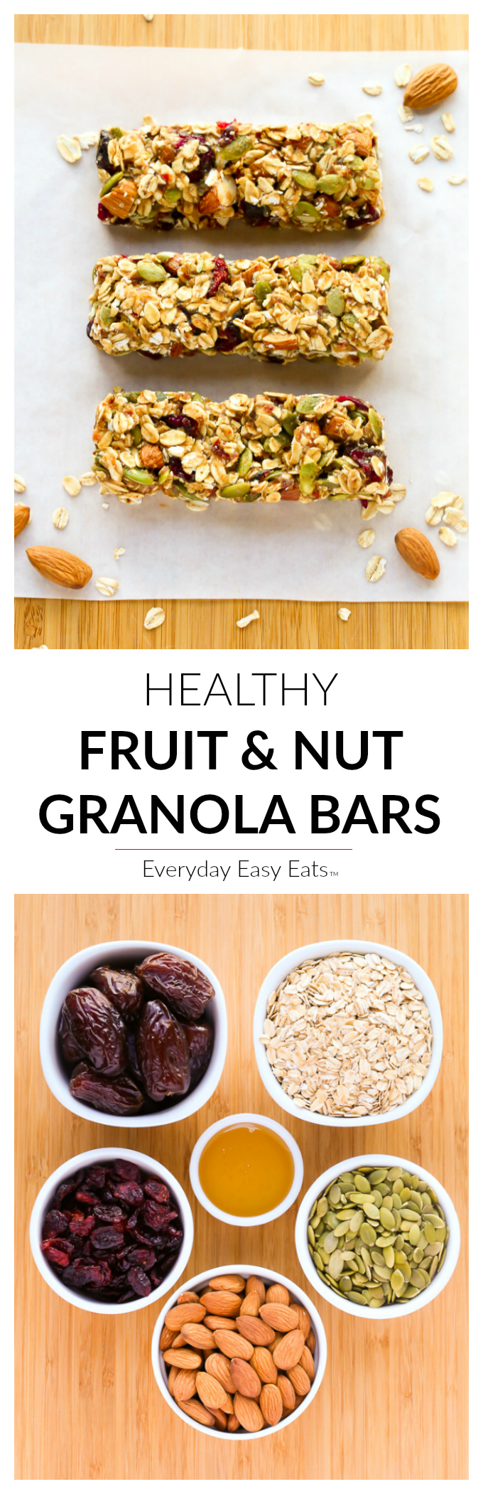 No Bake, 6 Ingredient, Healthy Fruit And Nut Granola Bars! |