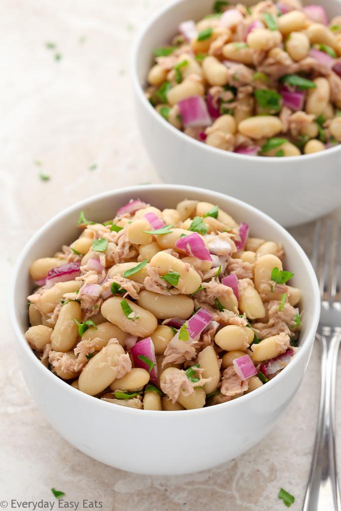 High-Protein Tuna & White Bean Salad | Recipe at EverydayEasyEats.com