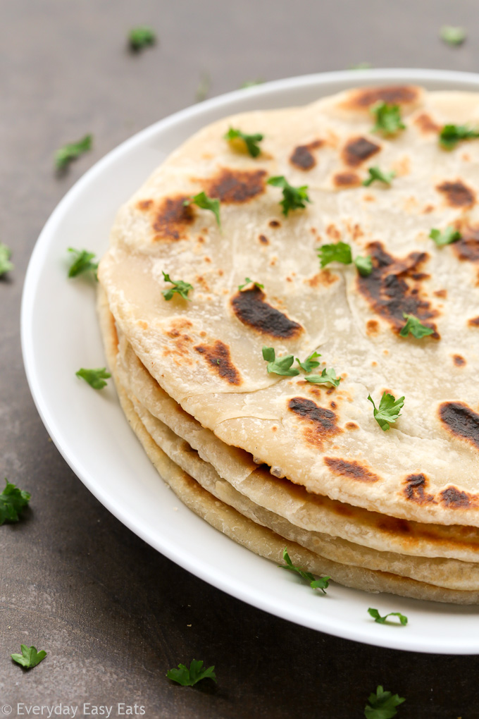 No yeast is needed to make this 20-minute Basic Flatbread recipe. Quick, easy and foolproof! | EverydayEasyEats.com