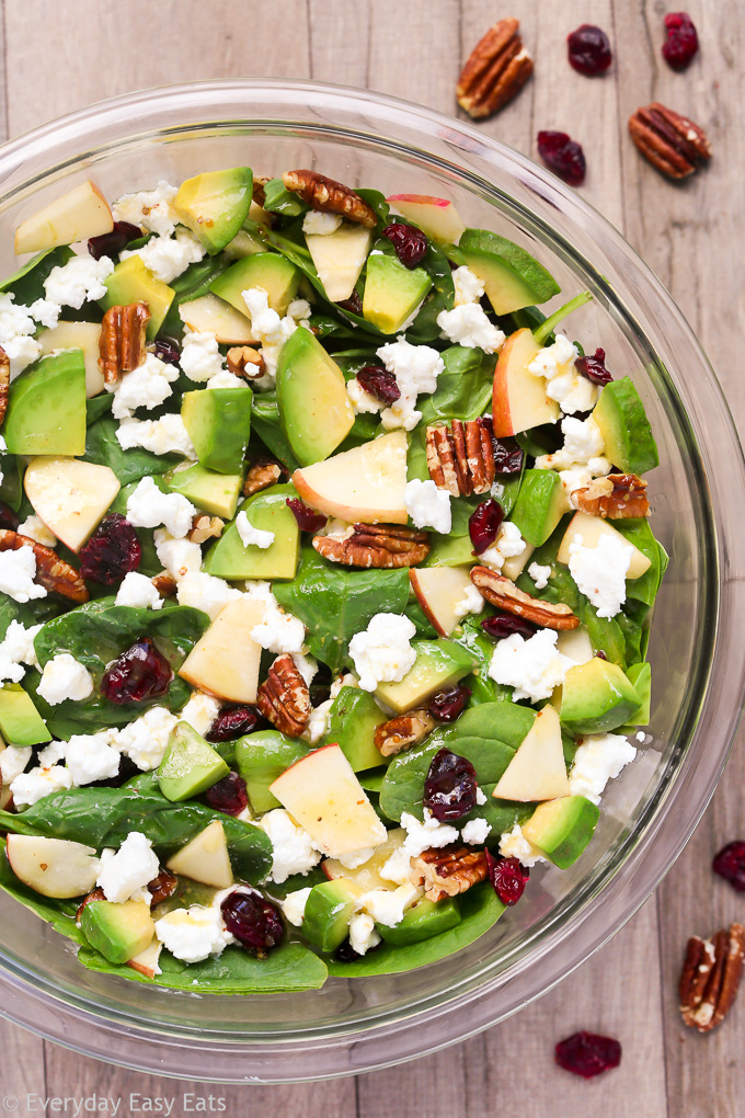 Apple Avocado Spinach Salad - Easy, healthy and ready in just 10 minutes! | Recipe at EverydayEasyEats.com