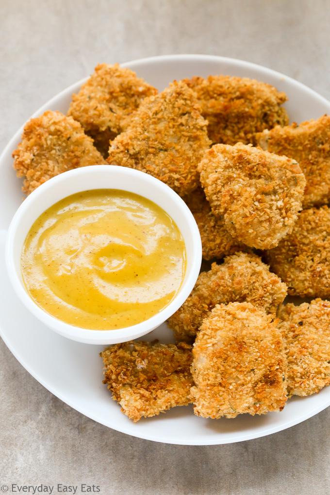 Baked Chicken Nuggets with Honey Mustard Sauce Recipe   EverydayEasyEats.com