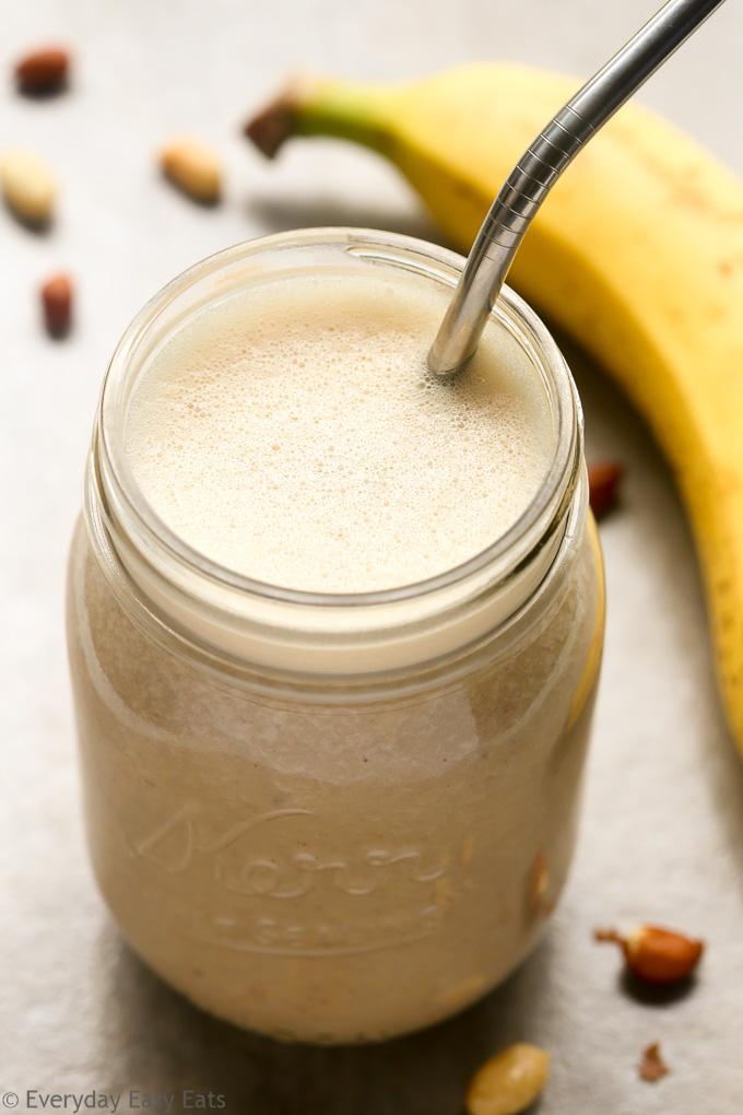 Peanut Butter Banana Protein Shake Recipe   EverydayEasyEats.com
