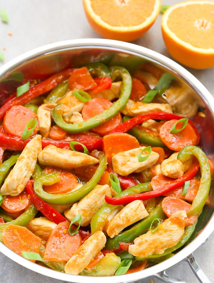 Healthy Orange Chicken Stir-Fry Recipe with Vegetables | EverydayEasyEats.com