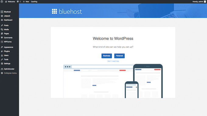 Welcome to WordPress dashboard in Bluehost
